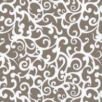pour un décor alterné avec ce motif de volutes négatives gris taupe en décalcomanie
