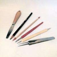 Kit d'outillage, indispensable pour démarrer la peinture porcelaine, spatule, crayon gras, pince, gomme, porte plume
