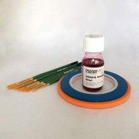 kit pour vos réserves, rubans, vernis et pinceaux